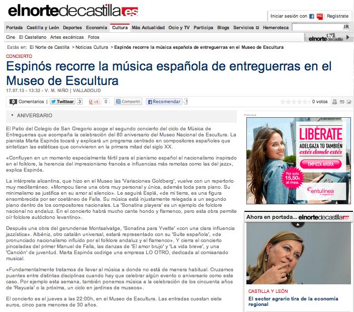 Entrevista Norte de Castilla 17_7_2013
