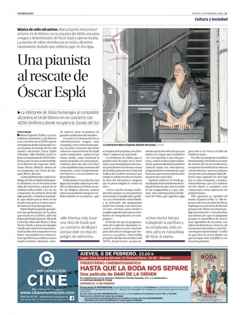 Una pianista al rescate de Óscar Esplá_Diario Información_6:2:2020